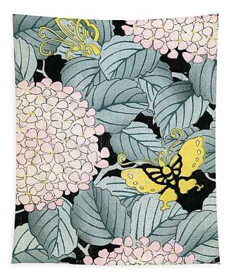 Vintage Japanese Illustration Of A Hydrangea Blossoms And Butterflies Tapestry