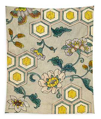 Vintage Japanese Illustration Of Blossoms On A Honeycomb Background Tapestry