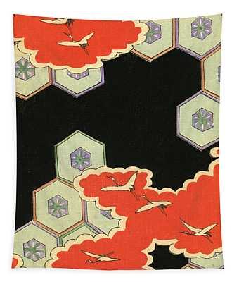Vintage Japanese Illustration Of Red Clouds And Flying Cranes In An Abstract Landscape Tapestry