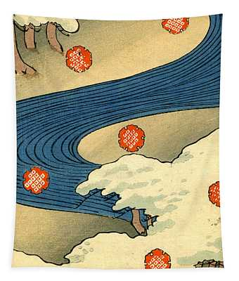 Vintage Japaneses Illustration Of Falling Snowflakes In An Abstract Winter Landscape Tapestry