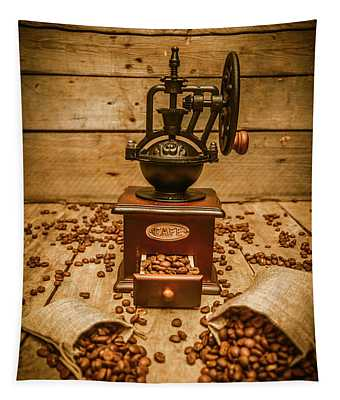 Vintage Manual Grinder And Coffee Beans Tapestry
