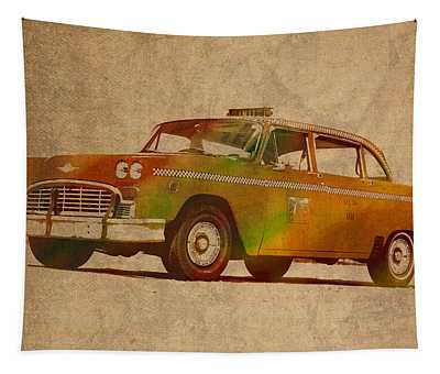 Vintage New York City Taxi Cab Watercolor Painting On Worn Canvas Tapestry