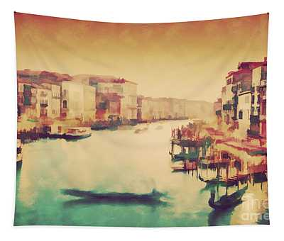 Vintage Painting Of Venice, Italy. Gondola Floats On Grand Canal Tapestry