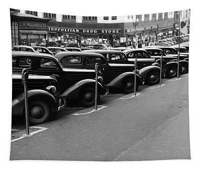 Vintage Parked Cars - Nebraska - 1938 Tapestry
