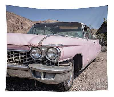 Vintage Pink Cadillac In The Nevada Desert Tapestry
