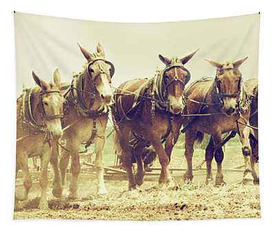 Vintage Plow Team Tapestry