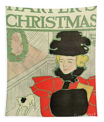 Vintage Poster Advertising Harper's New Monthly Magazine, Christmas 1894 Tapestry