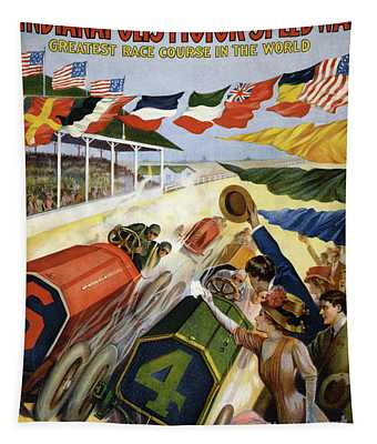 Vintage Poster Advertising The Indianapolis Motor Speedway Tapestry