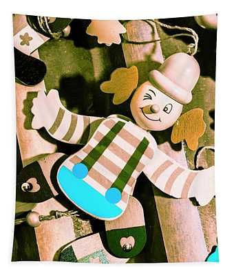 Vintage Pull-string Puppet Carnival Tapestry