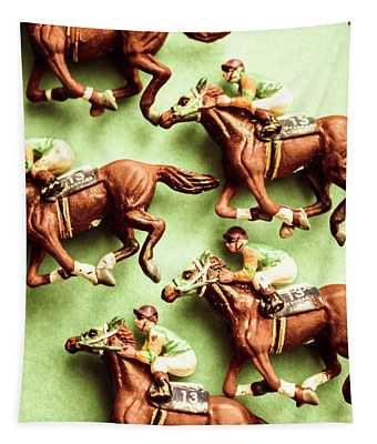 Vintage Racehorse Art Tapestry