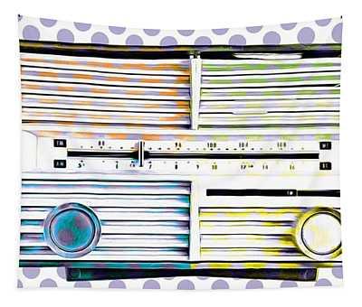Vintage Radio Purple Dots Mug Tapestry