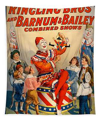 Vintage Ringling Brothers And Barnum And Bailey Combined Circus Tapestry