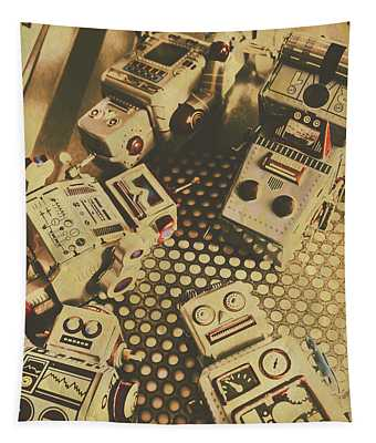 Vintage Robot Charging Zone Tapestry