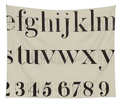 Vintage Roman Analytical Font Tapestry