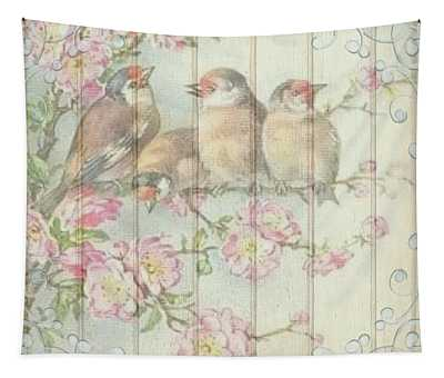 Vintage Shabby Chic Floral Faded Birds Design Tapestry