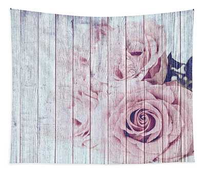 Vintage Shabby Chic Dusky Pink Roses On Blue Wood Effect Background Tapestry