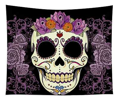 Vintage Sugar Skull And Roses Tapestry