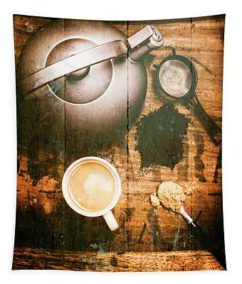Vintage Tea Crate Cafe Art Tapestry