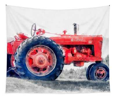 Vintage Tractor Watercolor Tapestry