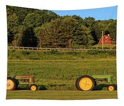 Vintage Tractors Sunset Panoramic Tapestry