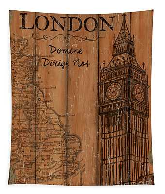 Vintage Travel London Tapestry