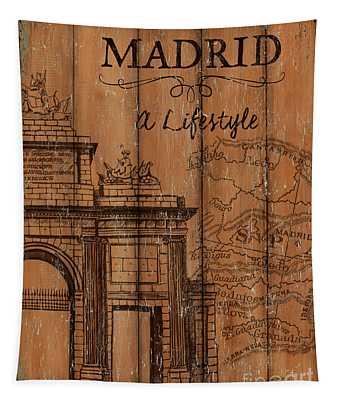 Vintage Travel Madrid Tapestry