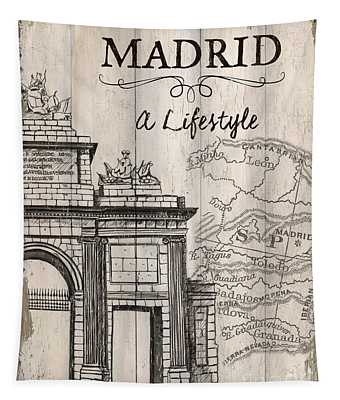Vintage Travel Poster Madrid Tapestry