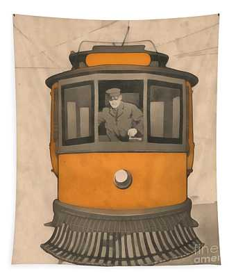 Vintage Trolley Square Tapestry