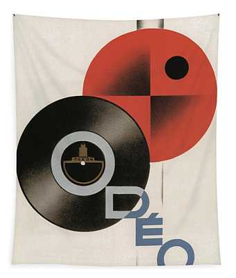 Vintage Vinyl Records Art Deco Tapestry