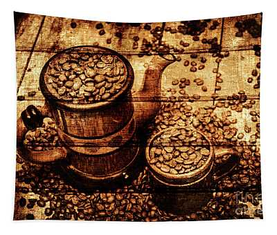 Vintage Wooden Coffee Shop Sign Tapestry