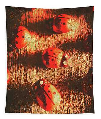Vintage Wooden Ladybugs Tapestry