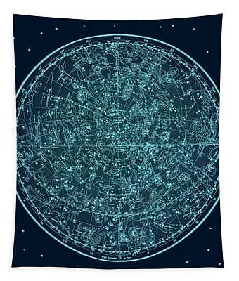 Vintage Zodiac Map - Teal Blue Tapestry