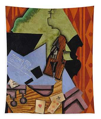 Violin And Playing Cards On A Table, 1913 Tapestry