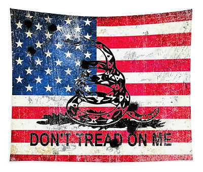 Viper N Bullet Holes On Old Glory Tapestry