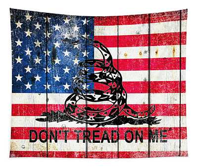 Viper On American Flag On Old Wood Planks Tapestry