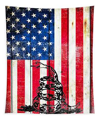 Viper On American Flag On Old Wood Planks Vertical Tapestry