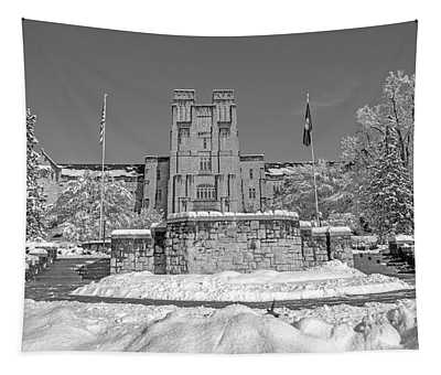 Virginia Tech Campus Burruss Hall Bw Tapestry