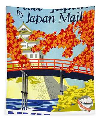 Visit Japan By Japan Mail - N.y.k Line - Retro Travel Poster - Vintage Poster Tapestry