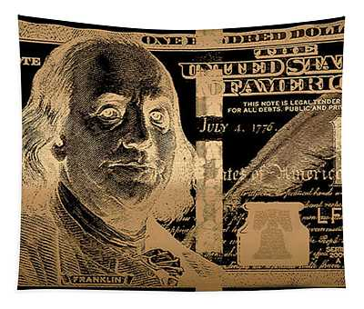One Hundred Us Dollar Bill - $100 Usd In Gold On Black Tapestry