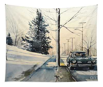 Volkswagen Karmann Ghia On Snowy Road Tapestry