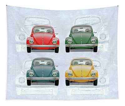 Volkswagen Type 1 - Variety Of Volkswagen Beetle On Vintage Background Tapestry