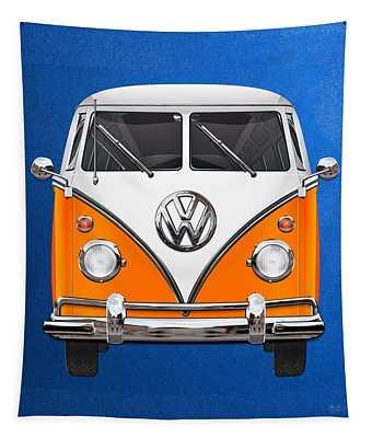 Volkswagen Type - Orange And White Volkswagen T 1 Samba Bus Over Blue Canvas Tapestry