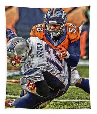 Von Miller Denver Broncos Art Tapestry