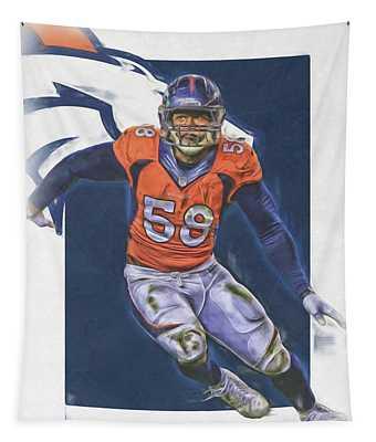 Von Miller Denver Broncos Oil Art Tapestry