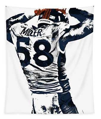 Von Miller Denver Broncos Pixel Art 4 Tapestry