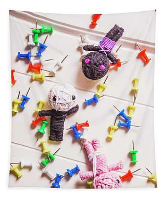 Voodoo Dolls Surrounded By Colorful Thumbtacks Tapestry
