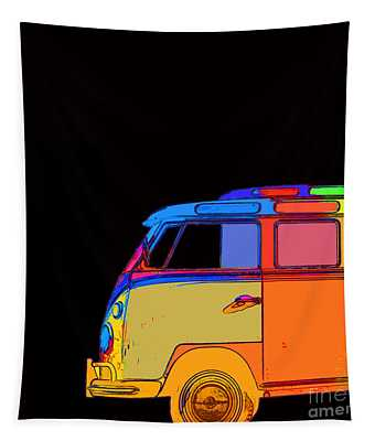 Vw Surfer Bus Square Tapestry