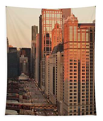 Wacker Drive Sunset Chicago Tapestry