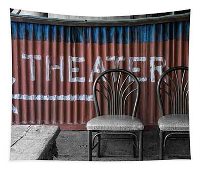 Corrugated Metal Theater Sign Tapestry