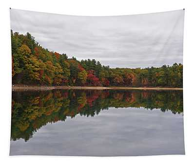 Walden Pond Fall Foliage Concord Ma Reflection Trees Tapestry